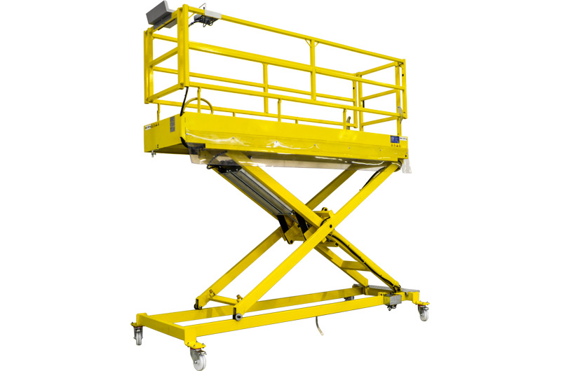 Pneumatic operated mobile work platform (MEWP) for preparation area of industrial and passengers vehicles UP3